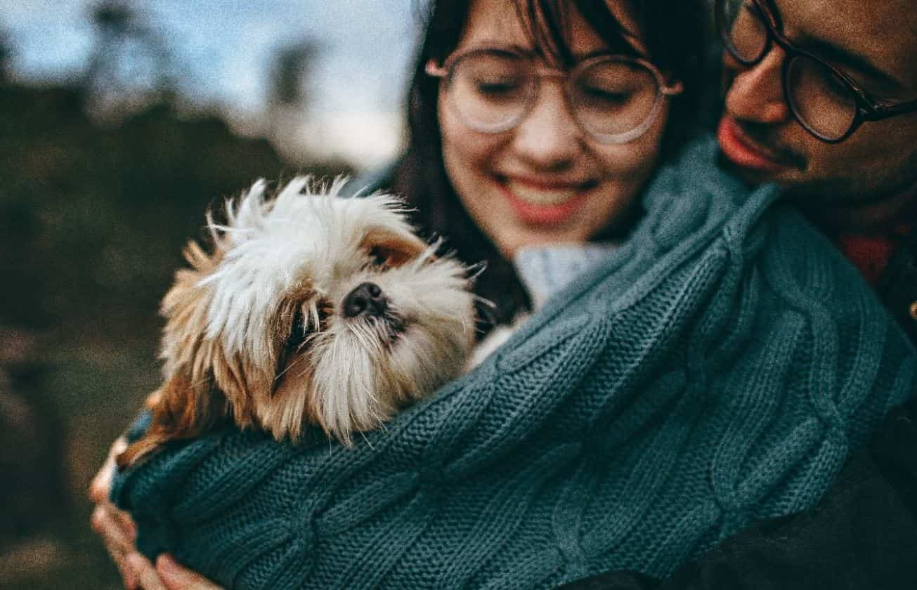 Couple that wears glasses holds a dog