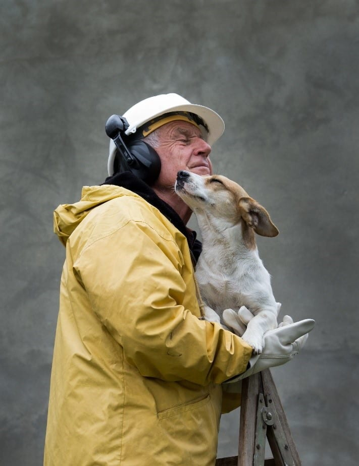 Man and search dog together