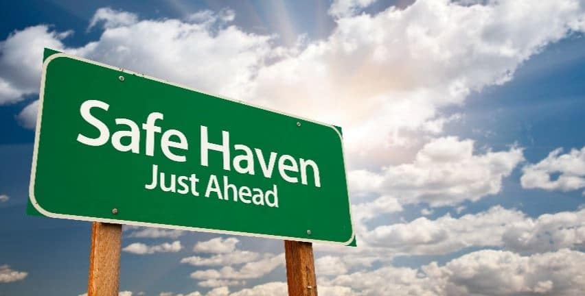 Safe Heaven Just Ahead signboard