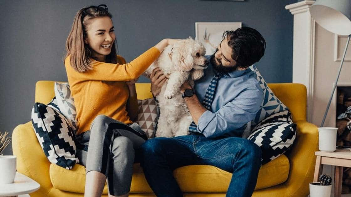 Couple holds wiggly puppy licking their faces on couch